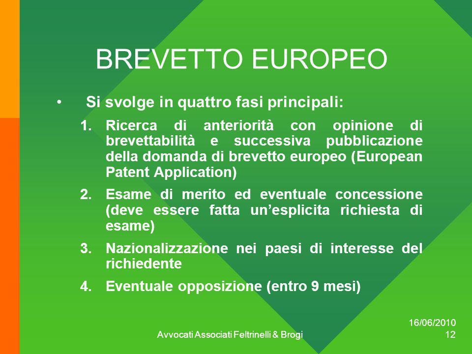 16/06/2010 Avvocati Associati Feltrinelli & Brogi 12 BREVETTO EUROPEO Si svolge in quattro fasi principali: 1.Ricerca di anteriorità con opinione di b