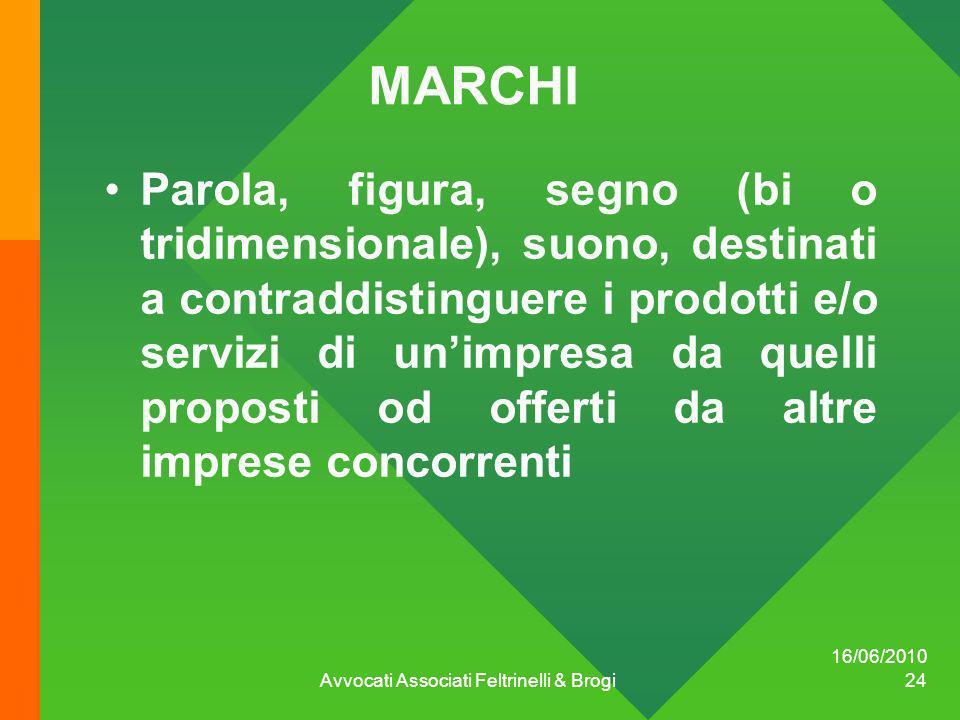16/06/2010 Avvocati Associati Feltrinelli & Brogi 24 MARCHI Parola, figura, segno (bi o tridimensionale), suono, destinati a contraddistinguere i prod