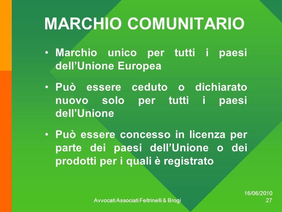 16/06/2010 Avvocati Associati Feltrinelli & Brogi 27 MARCHIO COMUNITARIO Marchio unico per tutti i paesi dellUnione Europea Può essere ceduto o dichia