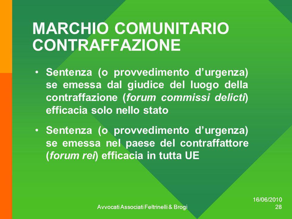 16/06/2010 Avvocati Associati Feltrinelli & Brogi 28 MARCHIO COMUNITARIO CONTRAFFAZIONE Sentenza (o provvedimento durgenza) se emessa dal giudice del