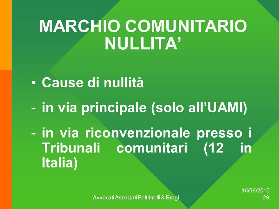 16/06/2010 Avvocati Associati Feltrinelli & Brogi 29 MARCHIO COMUNITARIO NULLITA Cause di nullità -in via principale (solo allUAMI) -in via riconvenzi