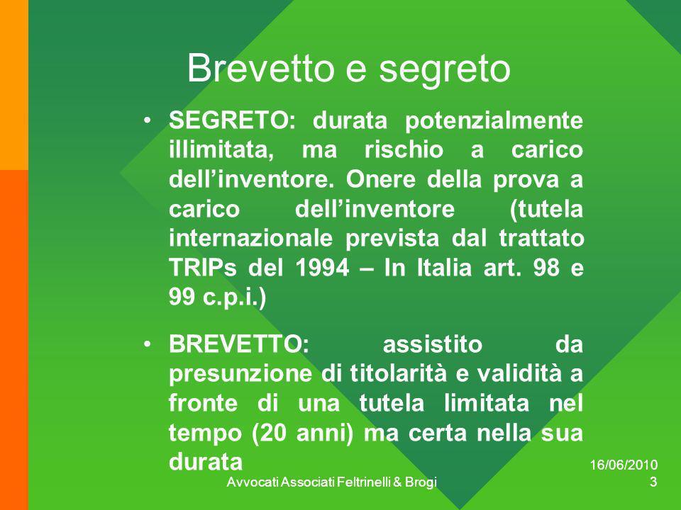 16/06/2010 Avvocati Associati Feltrinelli & Brogi 3 Brevetto e segreto SEGRETO: durata potenzialmente illimitata, ma rischio a carico dellinventore. O