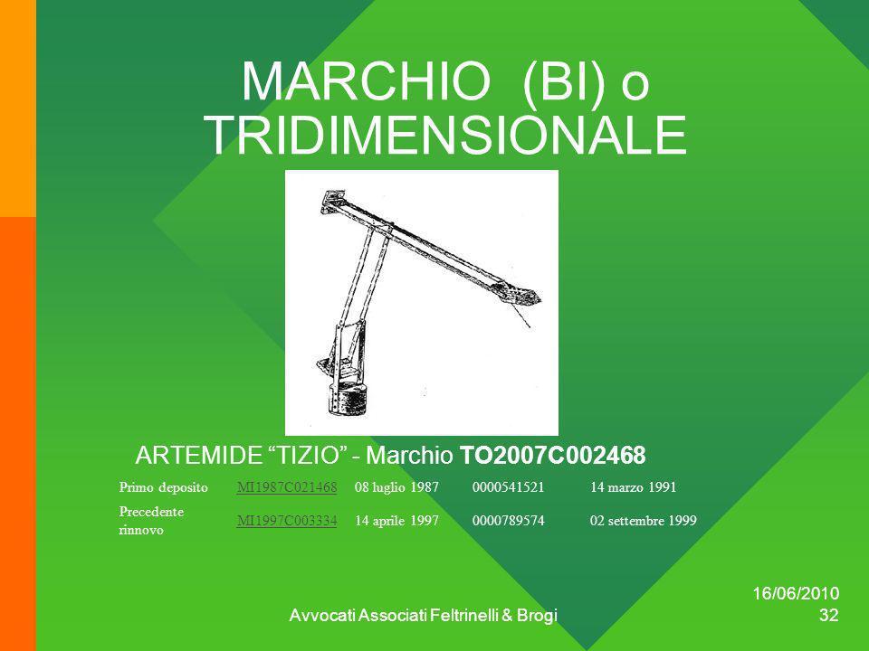 16/06/2010 Avvocati Associati Feltrinelli & Brogi 32 MARCHIO (BI) o TRIDIMENSIONALE ARTEMIDE TIZIO - Marchio TO2007C002468 Primo depositoMI1987C021468