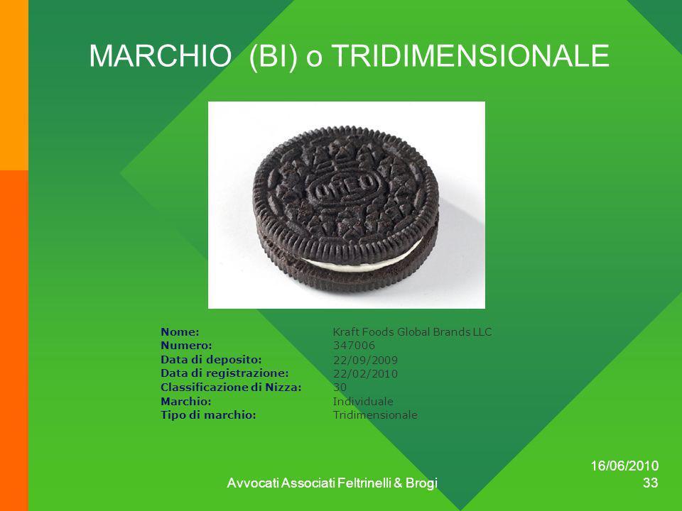 16/06/2010 Avvocati Associati Feltrinelli & Brogi 33 MARCHIO (BI) o TRIDIMENSIONALE Nome:Kraft Foods Global Brands LLC Numero:347006 Data di deposito: