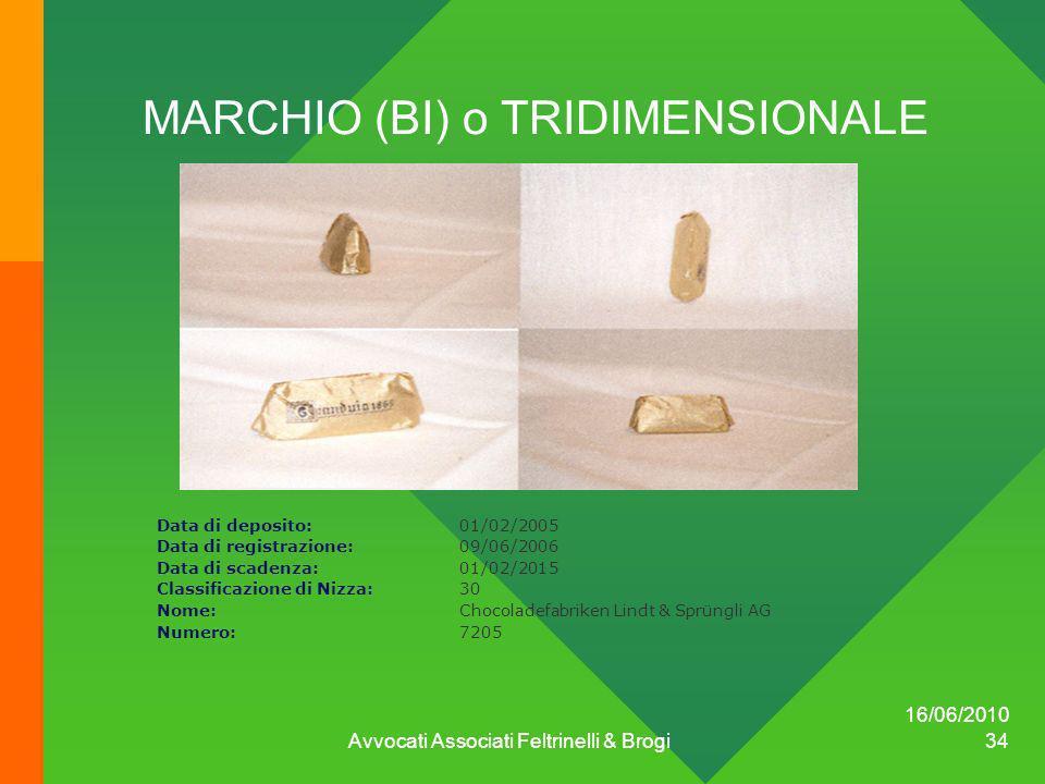 16/06/2010 Avvocati Associati Feltrinelli & Brogi 34 MARCHIO (BI) o TRIDIMENSIONALE Data di deposito:01/02/2005 Data di registrazione:09/06/2006 Data