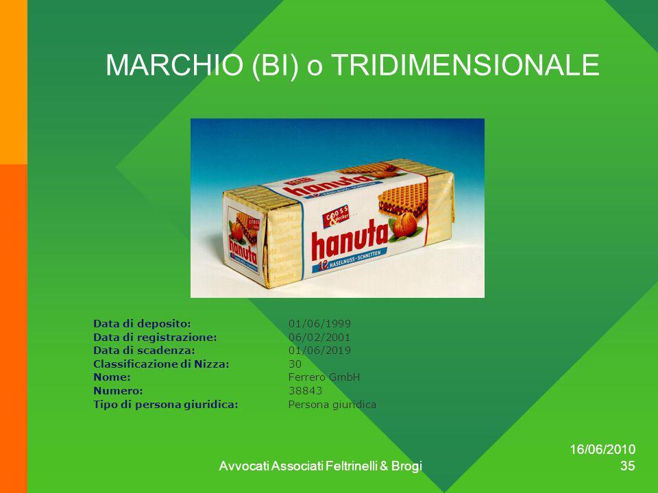 16/06/2010 Avvocati Associati Feltrinelli & Brogi 35 MARCHIO (BI) o TRIDIMENSIONALE Data di deposito:01/06/1999 Data di registrazione:06/02/2001 Data