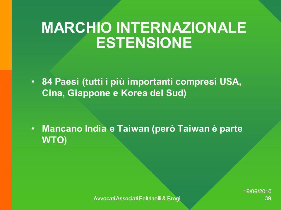 16/06/2010 Avvocati Associati Feltrinelli & Brogi 39 MARCHIO INTERNAZIONALE ESTENSIONE 84 Paesi (tutti i più importanti compresi USA, Cina, Giappone e