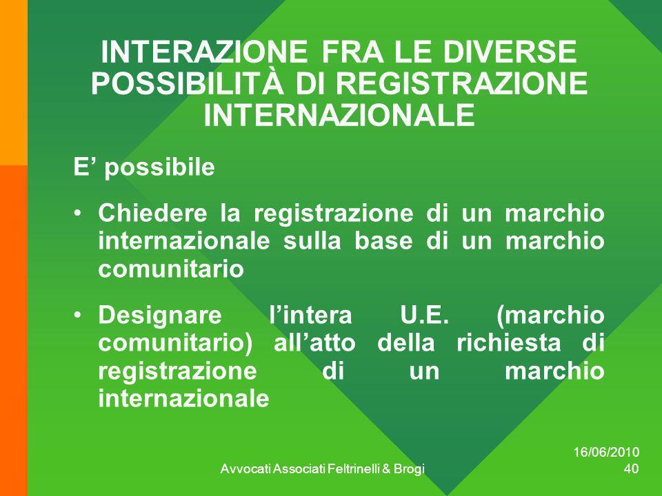 INTERAZIONE FRA LE DIVERSE POSSIBILITÀ DI REGISTRAZIONE INTERNAZIONALE E possibile Chiedere la registrazione di un marchio internazionale sulla base d