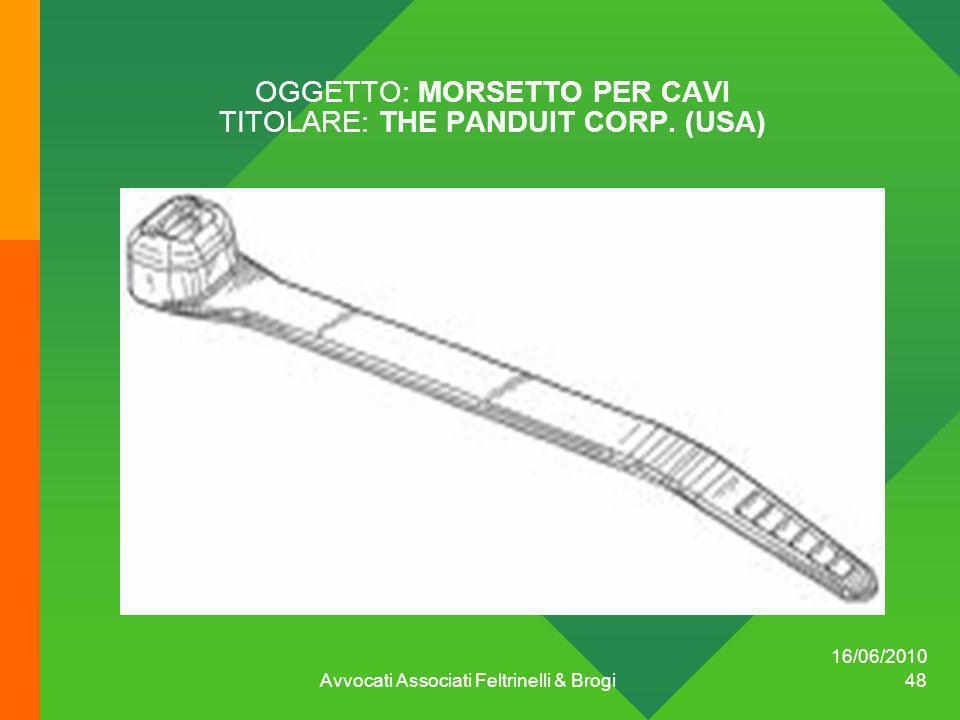 OGGETTO: MORSETTO PER CAVI TITOLARE: THE PANDUIT CORP. (USA) 16/06/2010 Avvocati Associati Feltrinelli & Brogi 48