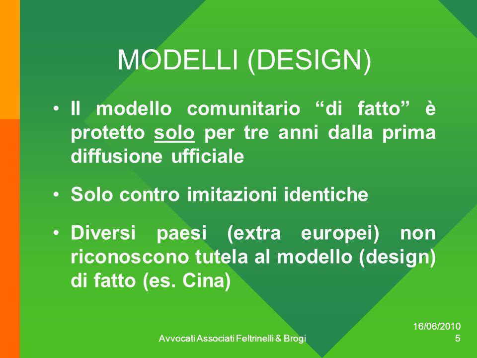 MODELLI (DESIGN) Il modello comunitario di fatto è protetto solo per tre anni dalla prima diffusione ufficiale Solo contro imitazioni identiche Divers