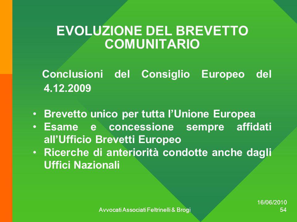 EVOLUZIONE DEL BREVETTO COMUNITARIO Conclusioni del Consiglio Europeo del 4.12.2009 Brevetto unico per tutta lUnione Europea Esame e concessione sempr