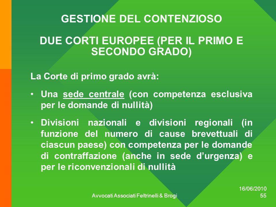 GESTIONE DEL CONTENZIOSO DUE CORTI EUROPEE (PER IL PRIMO E SECONDO GRADO) La Corte di primo grado avrà: Una sede centrale (con competenza esclusiva pe