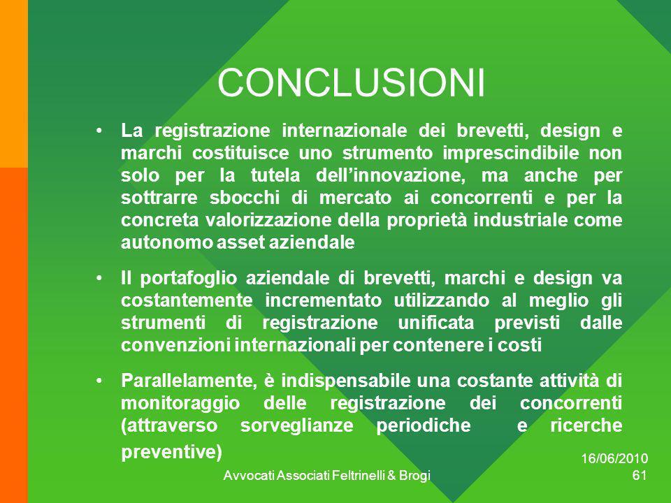 16/06/2010 Avvocati Associati Feltrinelli & Brogi 61 CONCLUSIONI La registrazione internazionale dei brevetti, design e marchi costituisce uno strumen