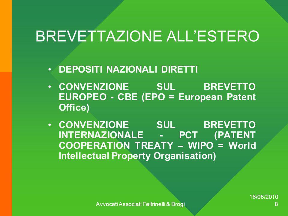 16/06/2010 Avvocati Associati Feltrinelli & Brogi 8 BREVETTAZIONE ALLESTERO DEPOSITI NAZIONALI DIRETTI CONVENZIONE SUL BREVETTO EUROPEO - CBE (EPO = E
