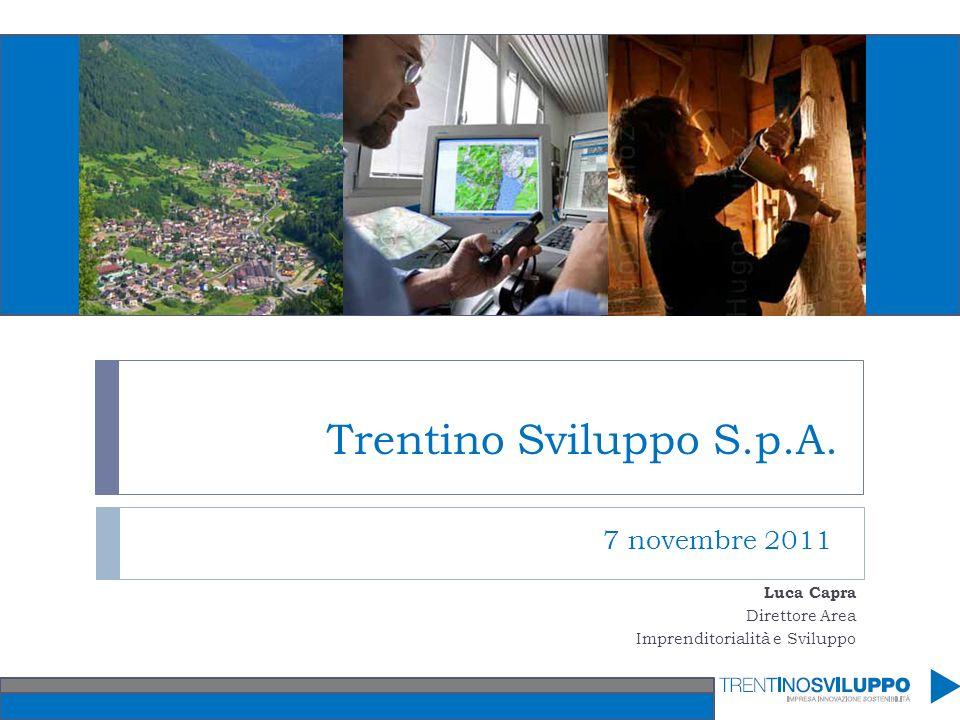 Trentino Sviluppo S.p.A. 7 novembre 2011 Luca Capra Direttore Area Imprenditorialità e Sviluppo