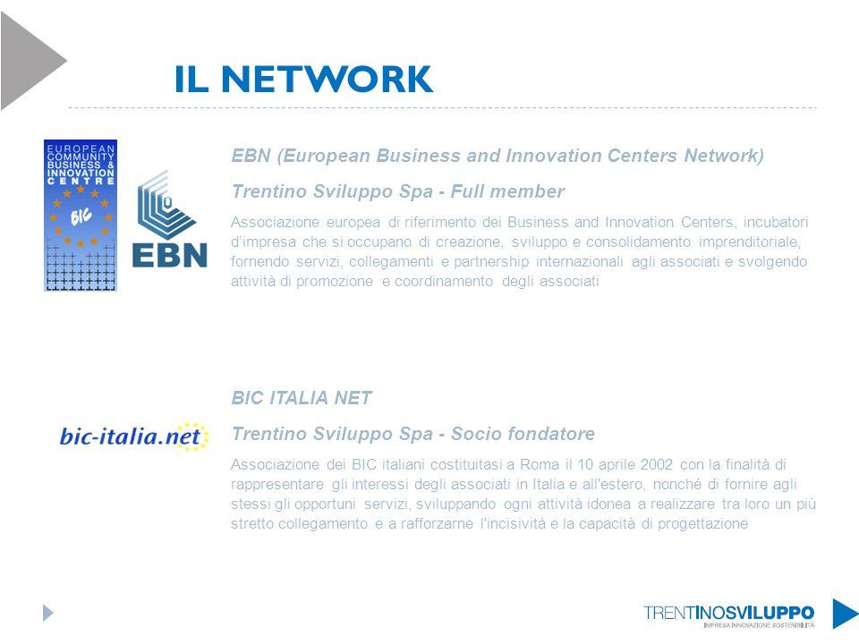 IL NETWORK EBN (European Business and Innovation Centers Network) Trentino Sviluppo Spa - Full member Associazione europea di riferimento dei Business