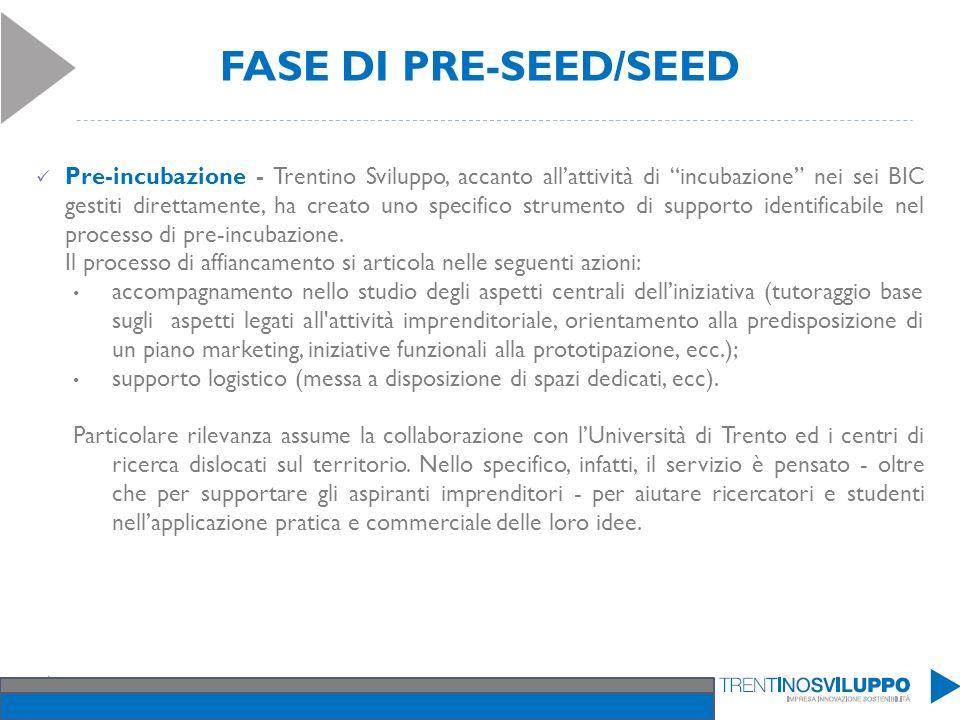 FASE DI PRE-SEED/SEED Pre-incubazione - Trentino Sviluppo, accanto allattività di incubazione nei sei BIC gestiti direttamente, ha creato uno specific