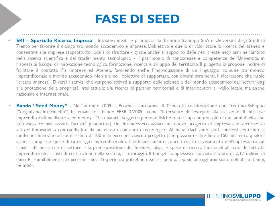 FASE DI SEED SRI – Sportello Ricerca Impresa - Iniziativa ideata e promossa da Trentino Sviluppo SpA e Università degli Studi di Trento per favorire i