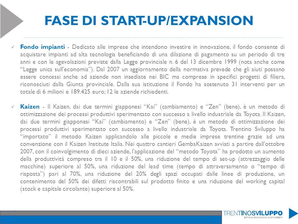FASE DI START-UP/EXPANSION Fondo impianti - Dedicato alle imprese che intendono investire in innovazione, il fondo consente di acquistare impianti ad