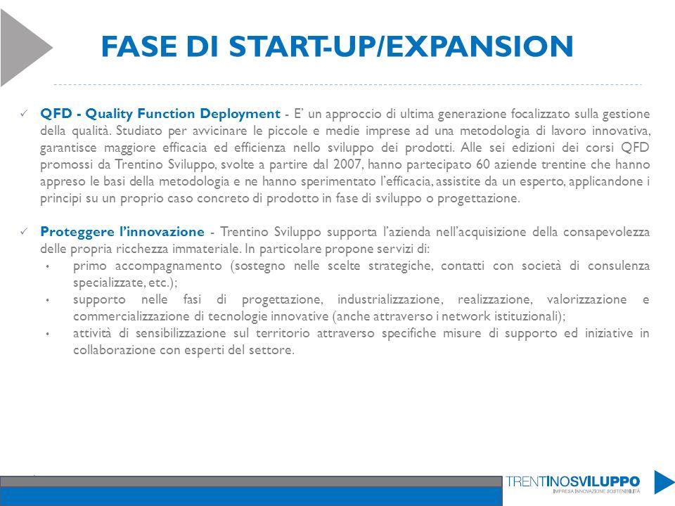 FASE DI START-UP/EXPANSION QFD - Quality Function Deployment - E un approccio di ultima generazione focalizzato sulla gestione della qualità. Studiato