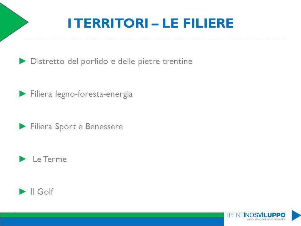 I TERRITORI – LE FILIERE Distretto del porfido e delle pietre trentine Filiera legno-foresta-energia Filiera Sport e Benessere Le Terme Il Golf