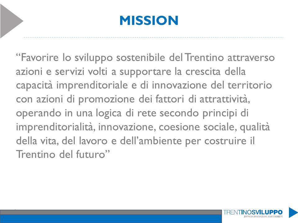 MISSION Favorire lo sviluppo sostenibile del Trentino attraverso azioni e servizi volti a supportare la crescita della capacità imprenditoriale e di i