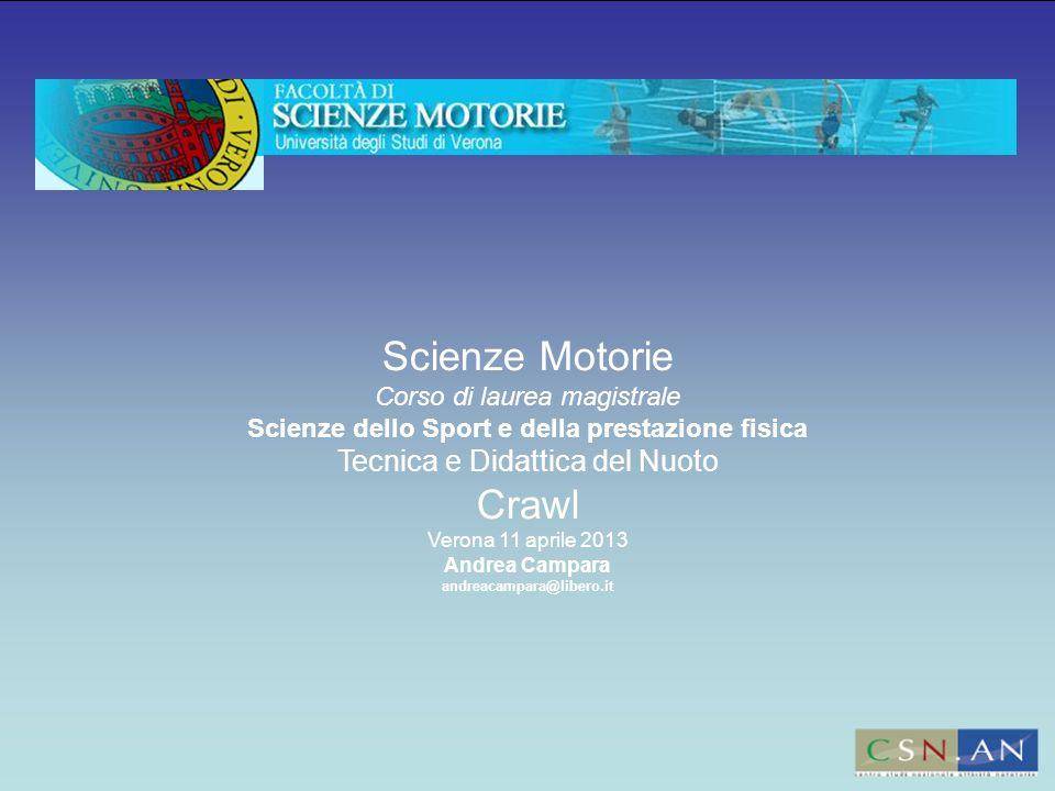Scienze Motorie Corso di laurea magistrale Scienze dello Sport e della prestazione fisica Tecnica e Didattica del Nuoto Crawl Verona 11 aprile 2013 An