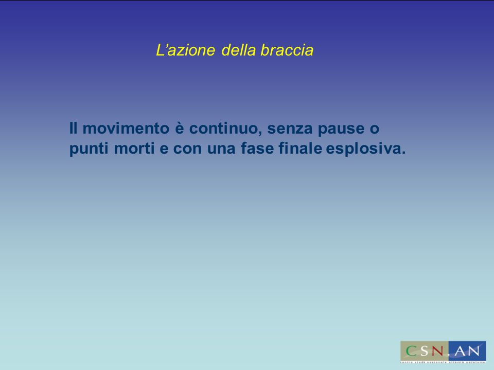 Lazione della braccia Il movimento è continuo, senza pause o punti morti e con una fase finale esplosiva.