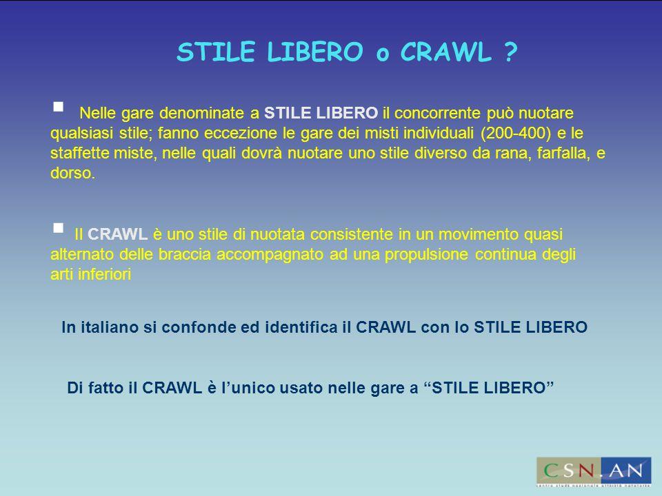 STILE LIBERO o CRAWL ? Nelle gare denominate a STILE LIBERO il concorrente può nuotare qualsiasi stile; fanno eccezione le gare dei misti individuali