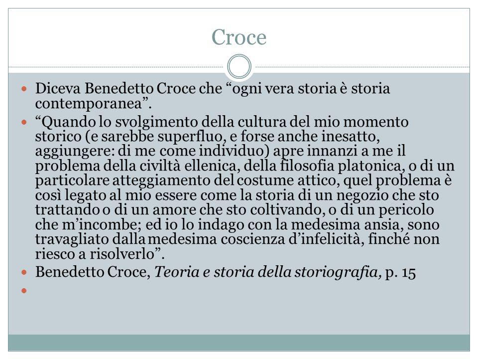 Croce Diceva Benedetto Croce che ogni vera storia è storia contemporanea. Quando lo svolgimento della cultura del mio momento storico (e sarebbe super