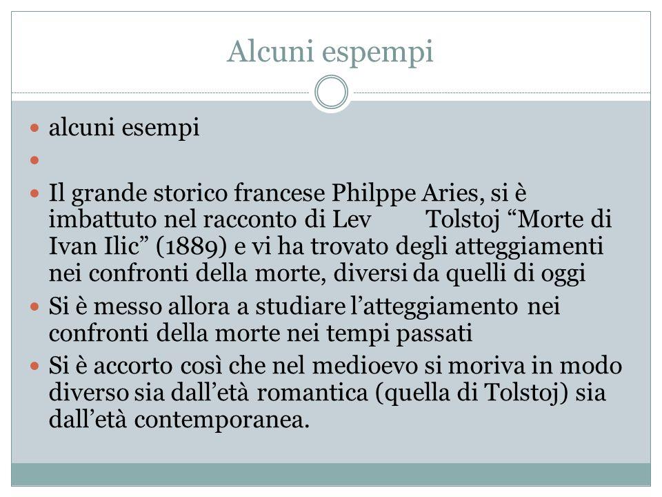 Alcuni espempi alcuni esempi Il grande storico francese Philppe Aries, si è imbattuto nel racconto di LevTolstoj Morte di Ivan Ilic (1889) e vi ha tro