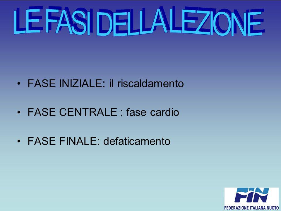FASE INIZIALE: il riscaldamento FASE CENTRALE : fase cardio FASE FINALE: defaticamento
