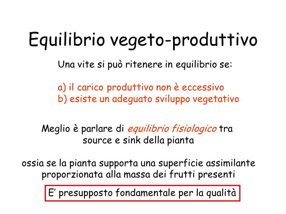 Equilibrio vegeto-produttivo Una vite si può ritenere in equilibrio se: a) il carico produttivo non è eccessivo b) esiste un adeguato sviluppo vegetat