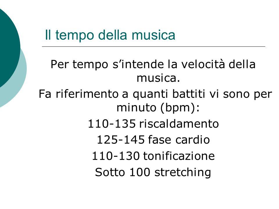 Il tempo della musica Per tempo sintende la velocità della musica.