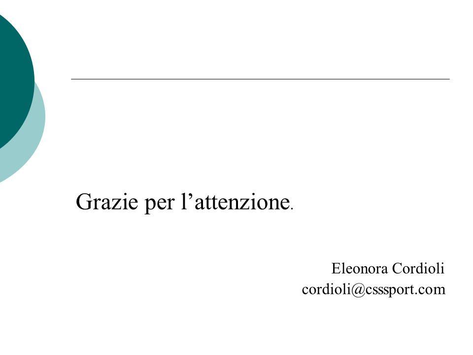 Grazie per lattenzione. Eleonora Cordioli cordioli@csssport.com