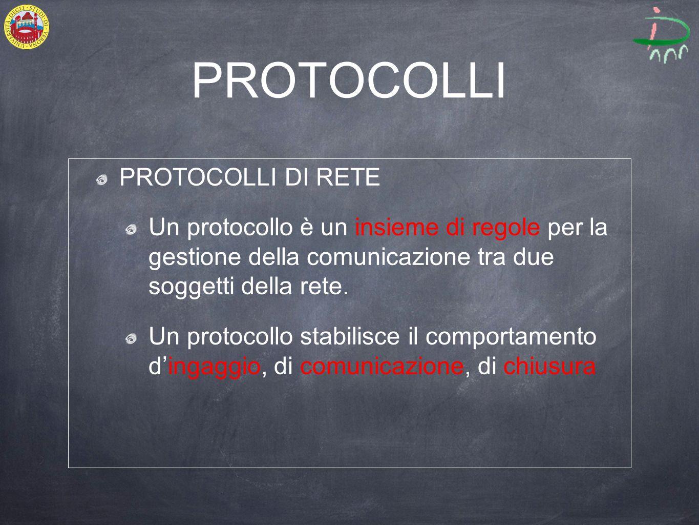 PROTOCOLLI PROTOCOLLI DI RETE Un protocollo è un insieme di regole per la gestione della comunicazione tra due soggetti della rete.