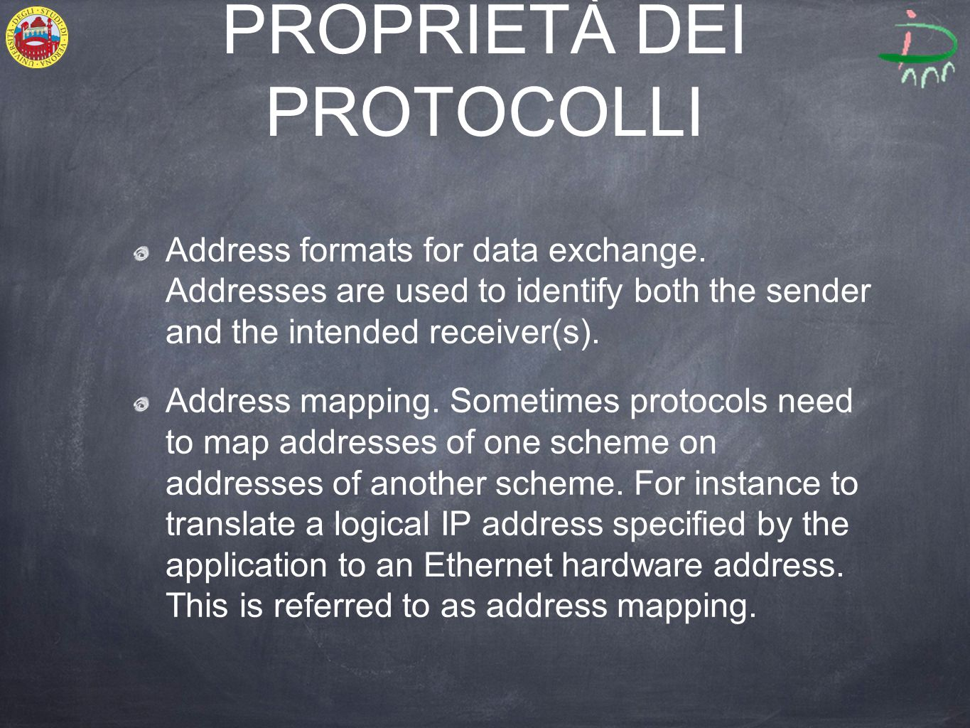 PROPRIETÀ DEI PROTOCOLLI Address formats for data exchange.