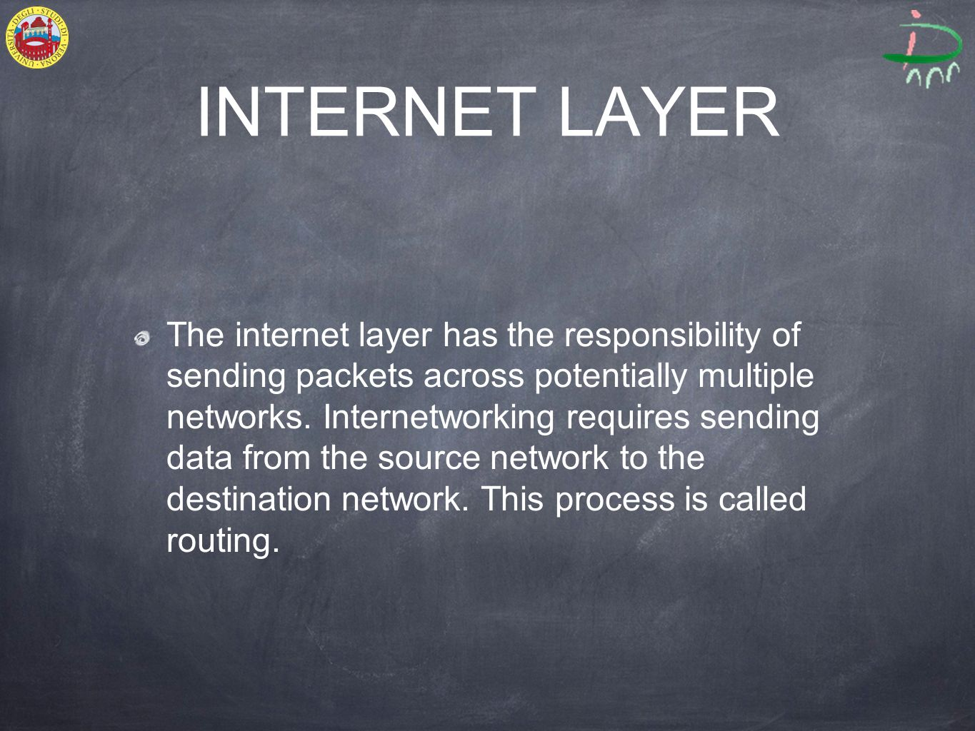 INTERNET LAYER The internet layer has the responsibility of sending packets across potentially multiple networks.