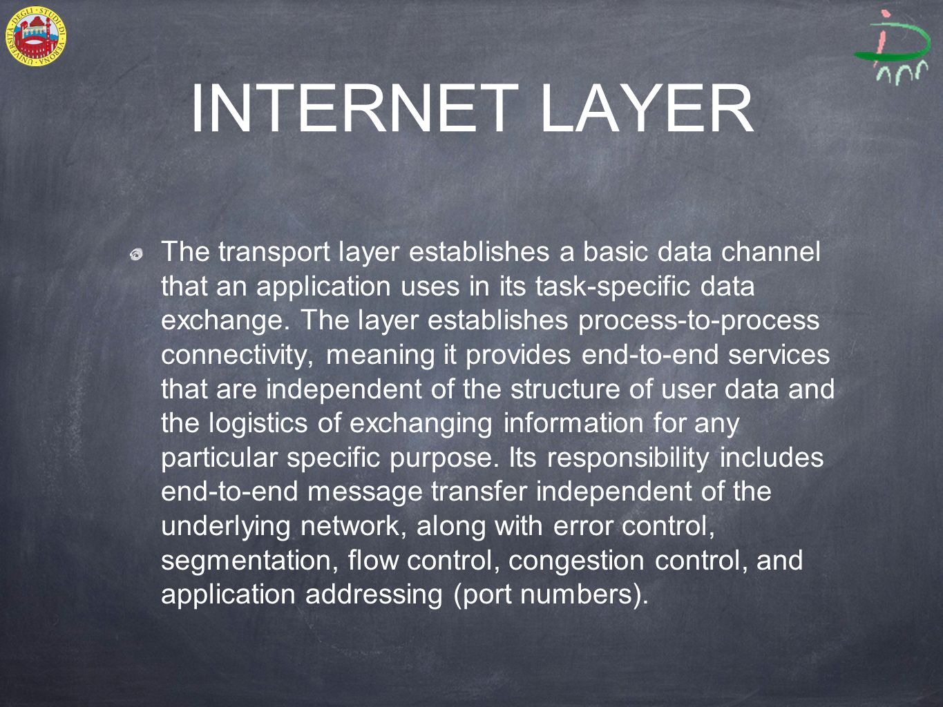 INTERNET LAYER The transport layer establishes a basic data channel that an application uses in its task-specific data exchange.