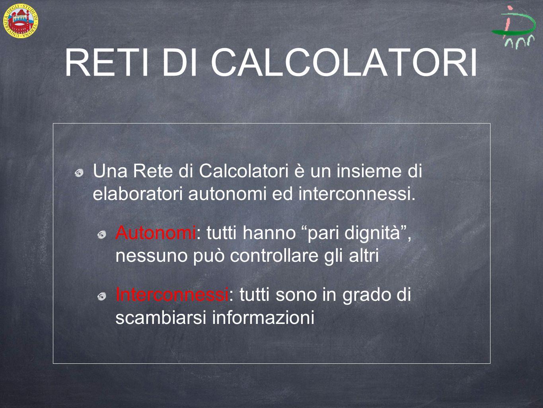 RETI DI CALCOLATORI Una Rete di Calcolatori è un insieme di elaboratori autonomi ed interconnessi.