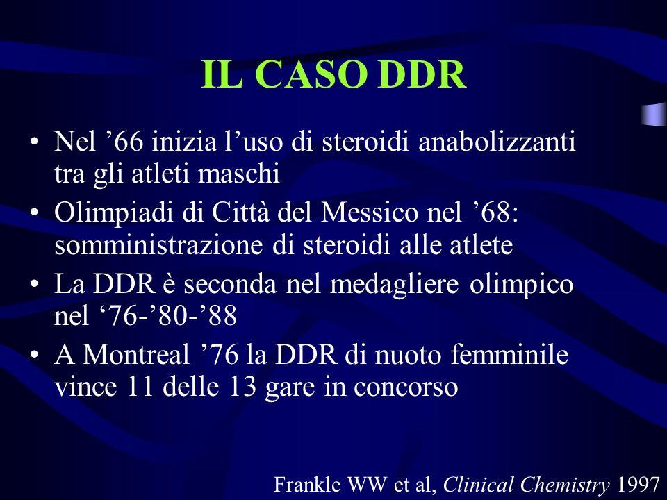 IL CASO DDR Nel 66 inizia luso di steroidi anabolizzanti tra gli atleti maschi Olimpiadi di Città del Messico nel 68: somministrazione di steroidi all