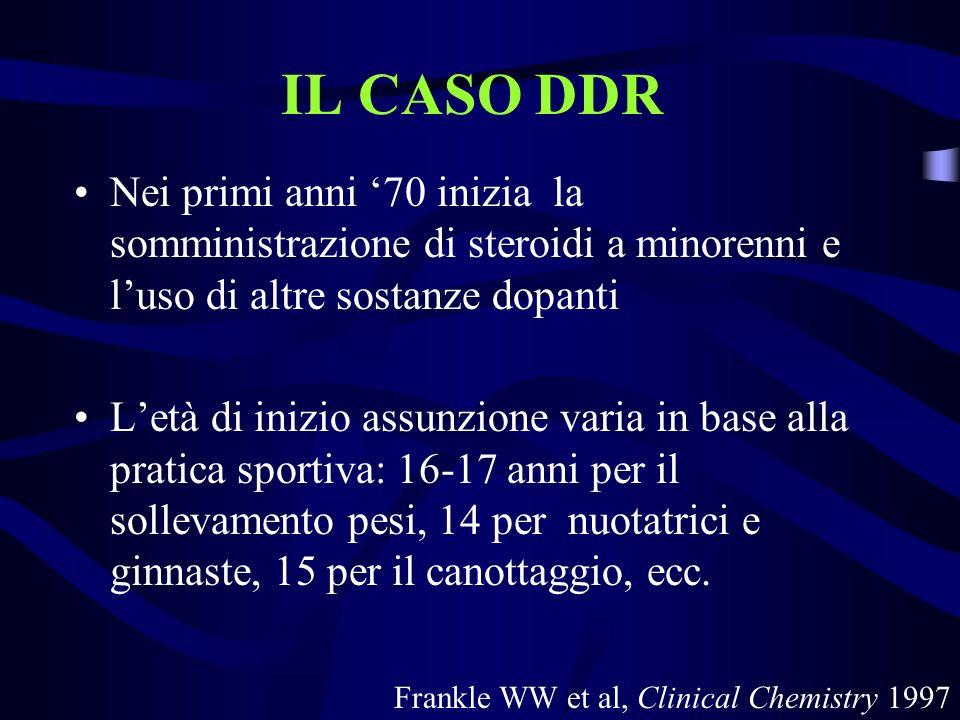 IL CASO DDR Nei primi anni 70 inizia la somministrazione di steroidi a minorenni e luso di altre sostanze dopanti Letà di inizio assunzione varia in b