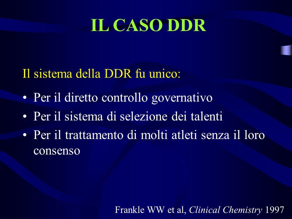 Il sistema della DDR fu unico: Per il diretto controllo governativo Per il sistema di selezione dei talenti Per il trattamento di molti atleti senza i