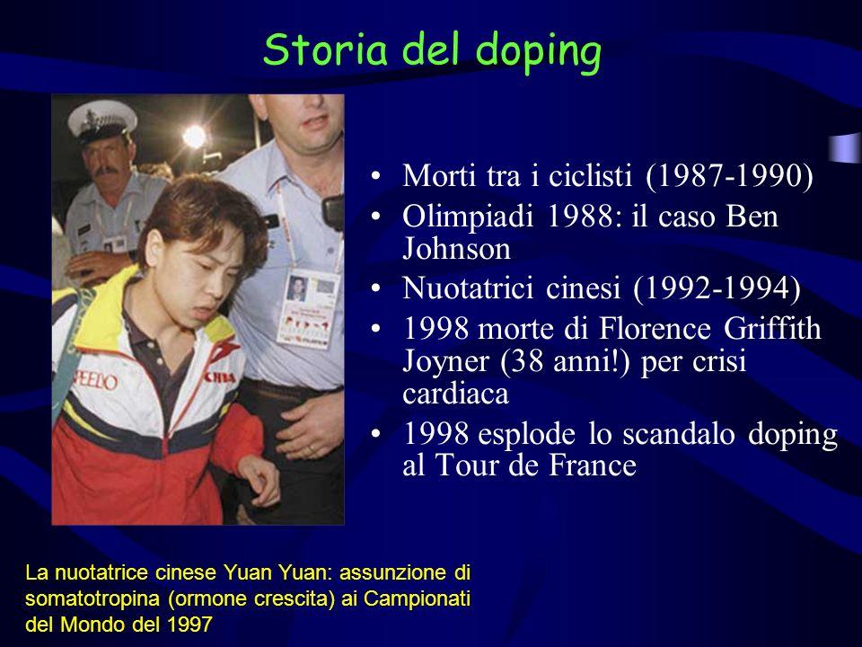 Morti tra i ciclisti (1987-1990) Olimpiadi 1988: il caso Ben Johnson Nuotatrici cinesi (1992-1994) 1998 morte di Florence Griffith Joyner (38 anni!) p