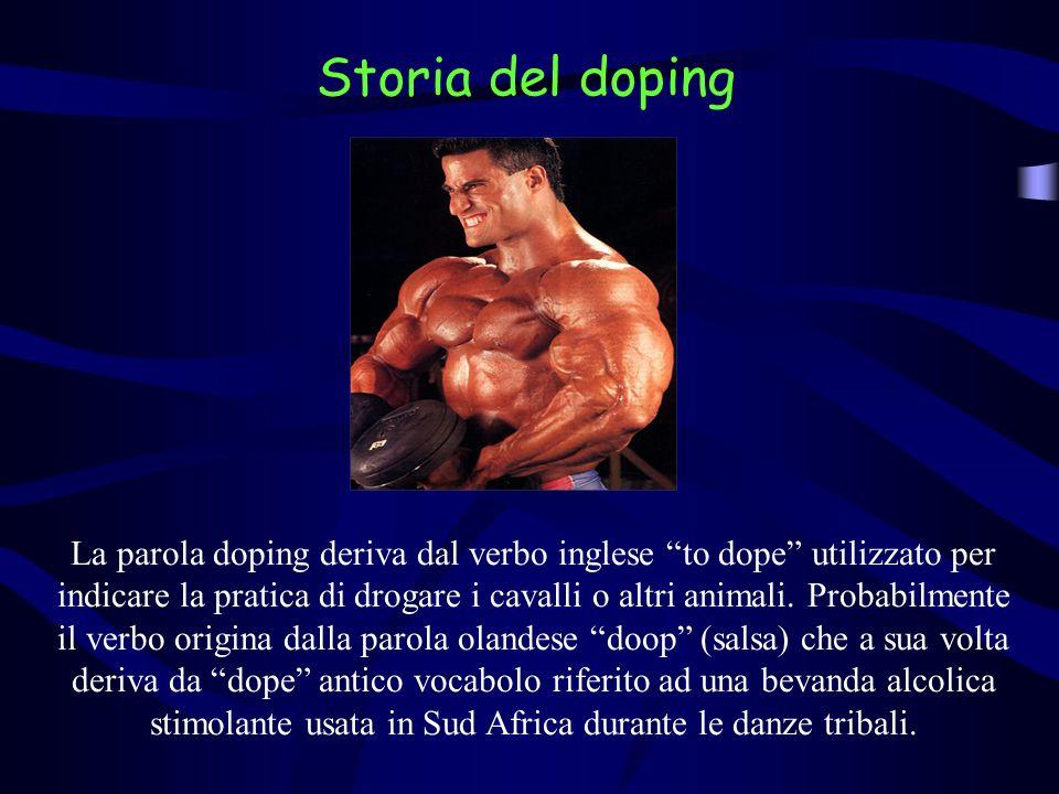 La parola doping deriva dal verbo inglese to dope utilizzato per indicare la pratica di drogare i cavalli o altri animali. Probabilmente il verbo orig