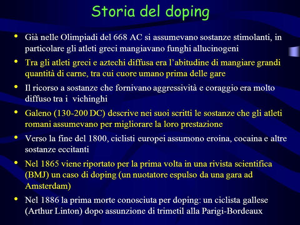 Già nelle Olimpiadi del 668 AC si assumevano sostanze stimolanti, in particolare gli atleti greci mangiavano funghi allucinogeni Tra gli atleti greci