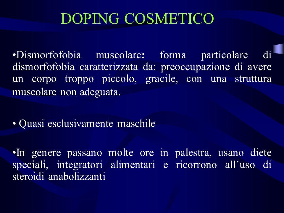DOPING COSMETICO Dismorfofobia muscolare: forma particolare di dismorfofobia caratterizzata da: preoccupazione di avere un corpo troppo piccolo, graci