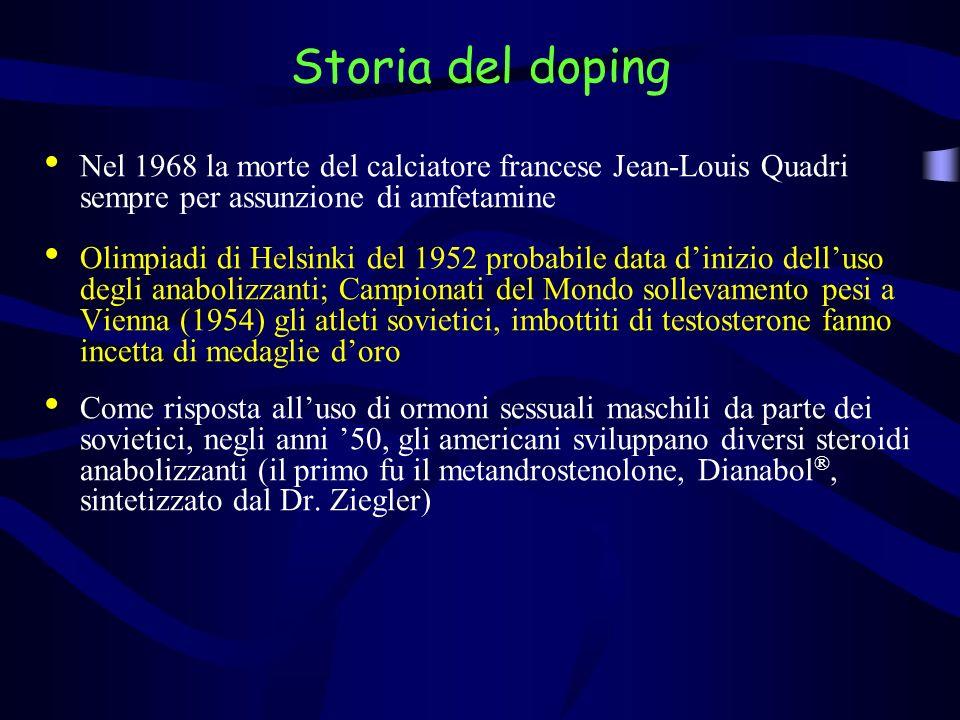 Storia del doping Nel 1968 la morte del calciatore francese Jean-Louis Quadri sempre per assunzione di amfetamine Olimpiadi di Helsinki del 1952 proba