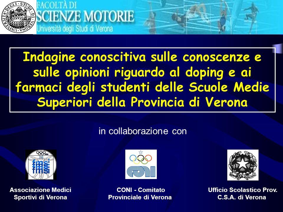 Indagine conoscitiva sulle conoscenze e sulle opinioni riguardo al doping e ai farmaci degli studenti delle Scuole Medie Superiori della Provincia di