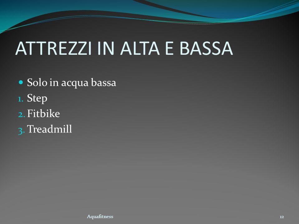 Aquafitness12 ATTREZZI IN ALTA E BASSA Aquafitness12 Solo in acqua bassa 1. Step 2. Fitbike 3. Treadmill